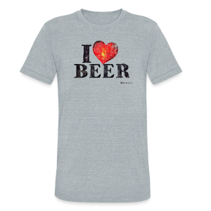 I Love Beer Distressed Unisex Tri-Blend T-Shirt  - Unisex Tri-Blend T-Shirt by American Apparel