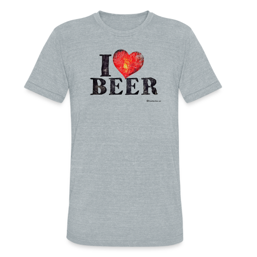 I Love Beer Distressed Unisex Tri-Blend T-Shirt  - Unisex Tri-Blend T-Shirt