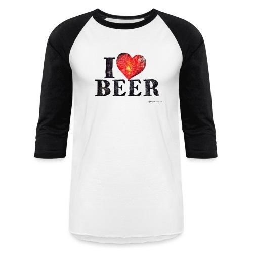 I Love Beer Distressed Men's Baseball T-Shirt  - Baseball T-Shirt