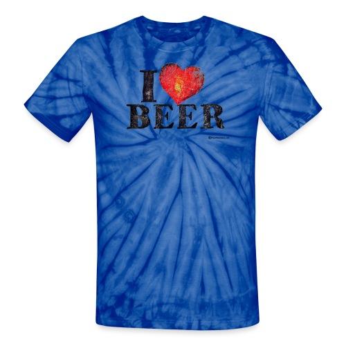 I Love Beer Distressed Unisex Tie Dye T-Shirt  - Unisex Tie Dye T-Shirt