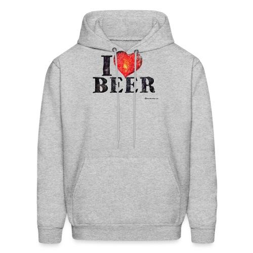 I Love Beer Distressed Men's Hoodie - Men's Hoodie