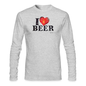 I Love Beer Distressed Men's Long Sleeve T-Shirt - Men's Long Sleeve T-Shirt by Next Level