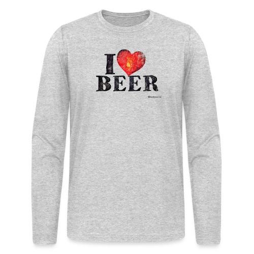 I Love Beer Distressed Men's Long Sleeve T-Shirt - Men's Long Sleeve T-Shirt by Next Level