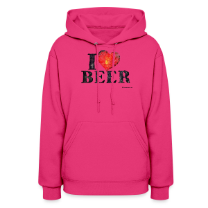 I Love Beer Distressed Women's Hooded Sweatshirt  - Women's Hoodie