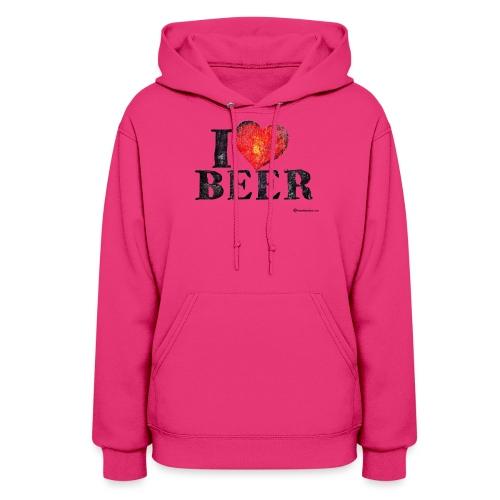 I Love Beer Distressed Women's Hooded Sweatshirt  - Women's Hoodie