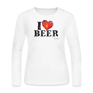 I Love Beer Distressed Women's Long Sleeve T-Shirt - Women's Long Sleeve Jersey T-Shirt