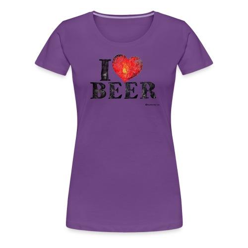 I Love Beer Distressed Women's Premium T-Shirt - Women's Premium T-Shirt