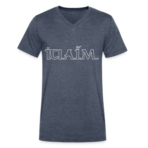 ICLAIM V-Neck T-Shirt Outline Logo - Men's V-Neck T-Shirt by Canvas