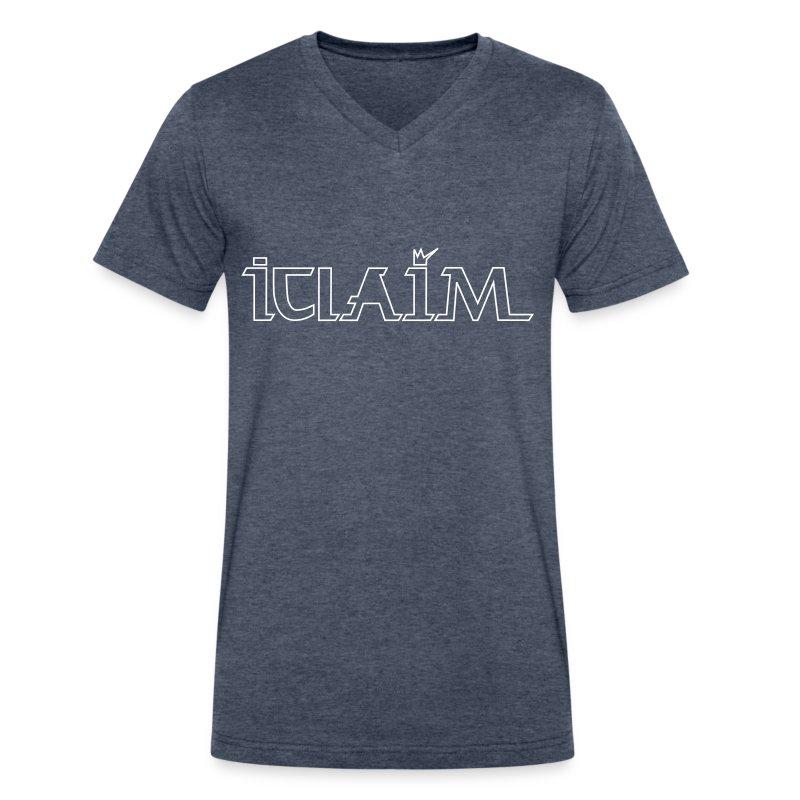 ICLAIM V-Neck T-Shirt Outline Logo - Men's V-Neck T-Shirt by Canvas