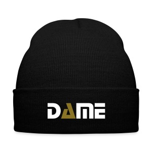 Black/Gold/White Visionary Dame Beanie - Knit Cap with Cuff Print