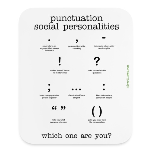 Punctuation Social Personalities mouse pad - Mouse pad Vertical
