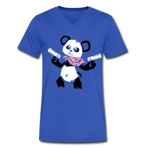 Cuddly Panda with Gun   Men's V-Neck T-Shirt - Men's V-Neck T-Shirt by Canvas