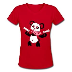 Cuddly Panda with Gun   Women's V-Neck T-Shirt - Women's V-Neck T-Shirt