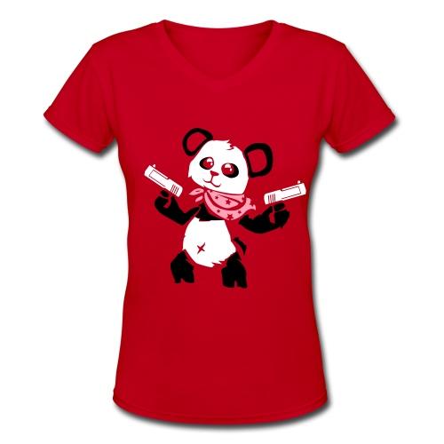 Cuddly Panda with Gun | Women's V-Neck T-Shirt - Women's V-Neck T-Shirt