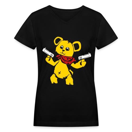 Teddy Bear with Gun | Women's V-Neck T-Shirt - Women's V-Neck T-Shirt