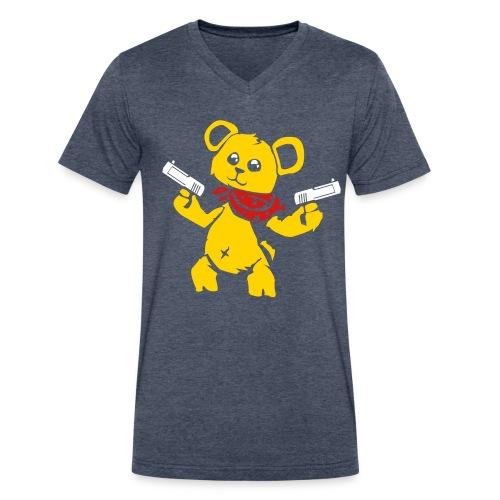 Teddy Bear with Gun   Men's V-Neck T-Shirt - Men's V-Neck T-Shirt by Canvas