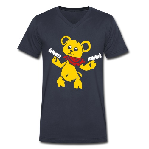 Teddy Bear with Gun | Men's V-Neck T-Shirt - Men's V-Neck T-Shirt by Canvas
