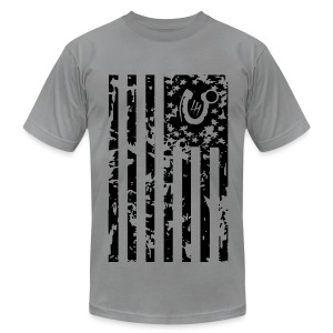 Men's T-Shirt by American Apparel - flag america veteran deployment iraq support grunge art shadow horseshoe grenade bomb explosive afghanistan