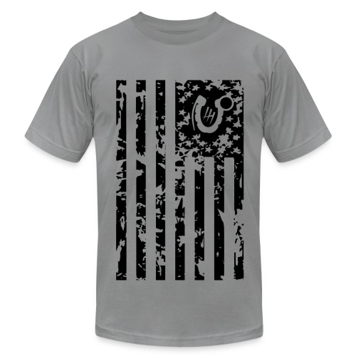 Men's Fine Jersey T-Shirt - flag america veteran deployment iraq support grunge art shadow horseshoe grenade bomb explosive afghanistan