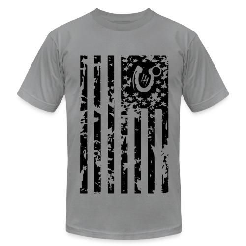 Men's  Jersey T-Shirt - flag america veteran deployment iraq support grunge art shadow horseshoe grenade bomb explosive afghanistan