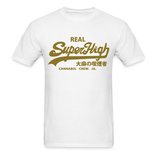 3f8493e88 LoveSpud Designs | SuperHigh Mens T Shirt White & Gold - Mens T-Shirt