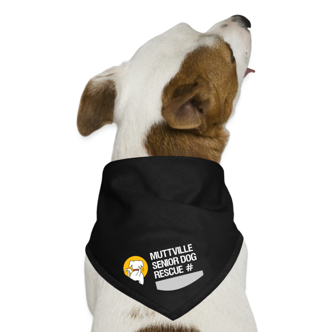Muttville's #3000 Milestone Commemorative bandana (wht on blk)