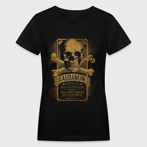 Goth Steampunk Medicine Skull - Women's V-Neck T-Shirt