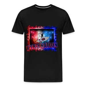 PYRO NATION T-front With Flames - Men's Premium T-Shirt