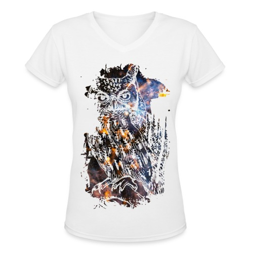 Ladies Owl T-Shirt - Women's V-Neck T-Shirt