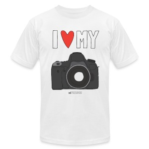 Camera Love - DSLR - Grey Logo - Men's T-Shirt by American Apparel