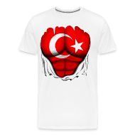 T-Shirts ~ Men's Premium T-Shirt ~ Turkey Flag Ripped Muscles, six pack, chest t-shirt