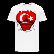 T-Shirts ~ Men's Premium T-Shirt ~ Turkey Flag Ripped Muscles, six pack, chest t-shirt