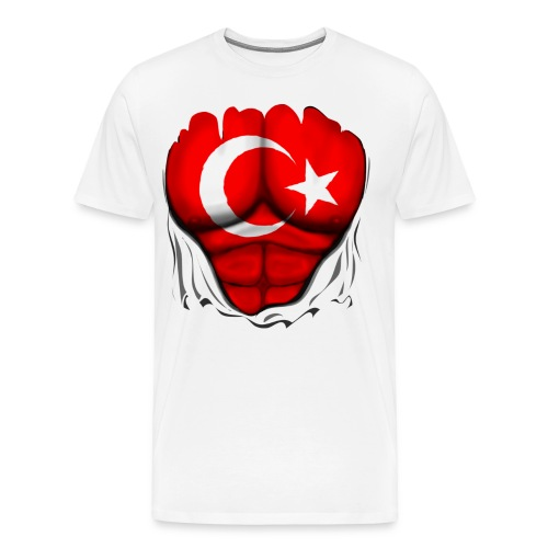 Turkey Flag Ripped Muscles, six pack, chest t-shirt - Men's Premium T-Shirt