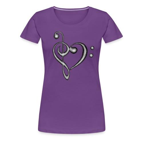 Treble & Bass Clef Hand Drawn Heart Design - Women's Premium T-Shirt