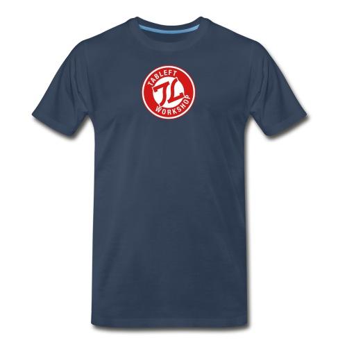 Mens Red & White Ring Stamp Logo - Men's Premium T-Shirt