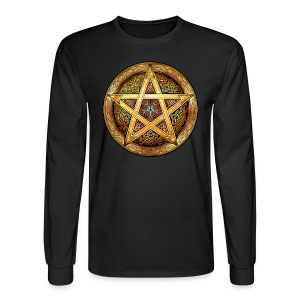 Knotwork Pentacle (Gold) Long Sleeve Tee - Men's Long Sleeve T-Shirt