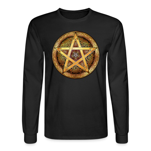 Knotwork Pentacle (Gold) Long Sleeve Tee - Men's Long Sleeve T-Shirt
