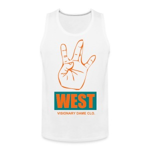 Visionary Dame Clo. White/Orange/Aqua 'West' Tank - Men's Premium Tank