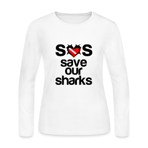 Women's Long Sleeve Jersey T-Shirt - t-shirts with shark designs,sharks t shirts,shark week t-shirt,shark week shirts,shark week apparel,shark week,shark t-shirt,i love sharks