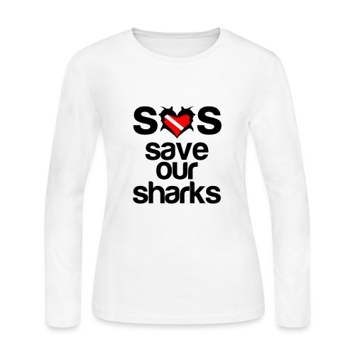 Women's Long Sleeve Jersey T-Shirt - i love sharks,shark t-shirt,shark week,shark week apparel,shark week shirts,shark week t-shirt,sharks t shirts,t-shirts with shark designs