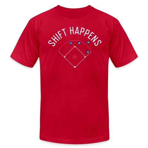 Shift Happens (Red/White/Navy) - Men's Fine Jersey T-Shirt
