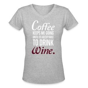Coffee Wine Tee - Women's V-Neck T-Shirt