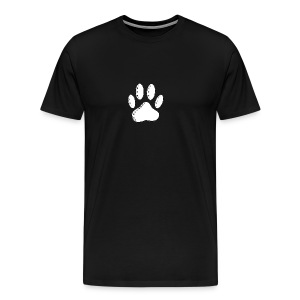 White Dog Paw Newsprint - Men's Premium T-Shirt
