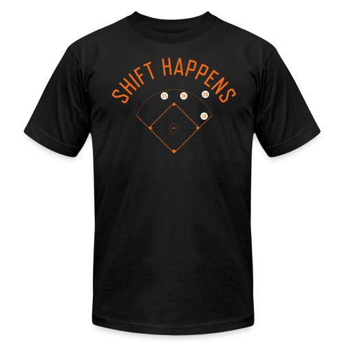 Shift Happens (Black/Orange/White) - Men's Fine Jersey T-Shirt