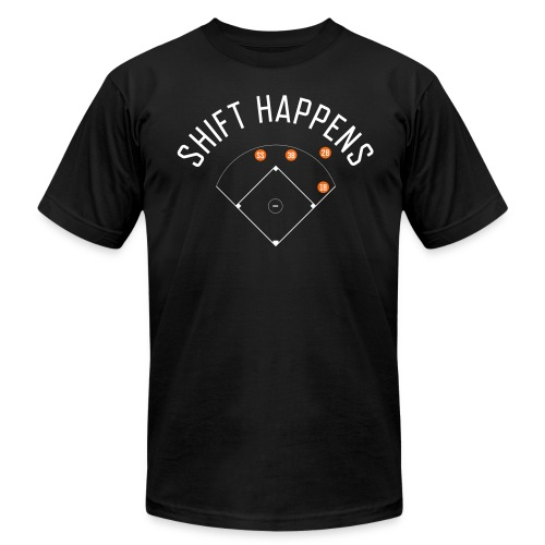Shift Happens (Black/White/Orange) - Men's Fine Jersey T-Shirt
