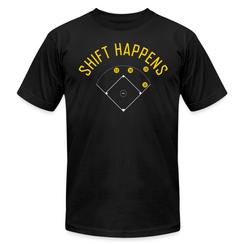 Shift Happens (Black/Yellow/White) - Men's Fine Jersey T-Shirt