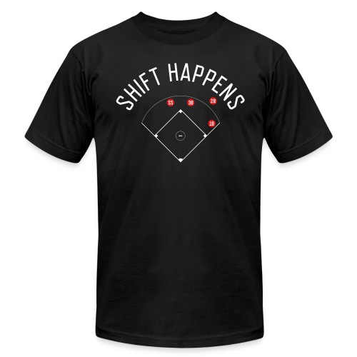 Shift Happens (Black/White/Red) - Men's Fine Jersey T-Shirt