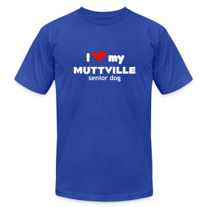 I love my Muttville senior dog men's tee (white text) - Men's Fine Jersey T-Shirt