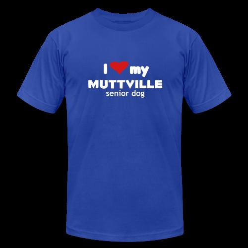 I love my Muttville senior dog men's tee (white text) - Men's Fine Jersey T-Shirt