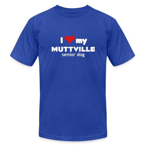 I love my Muttville senior dog men's tee (white text) - Men's T-Shirt by American Apparel